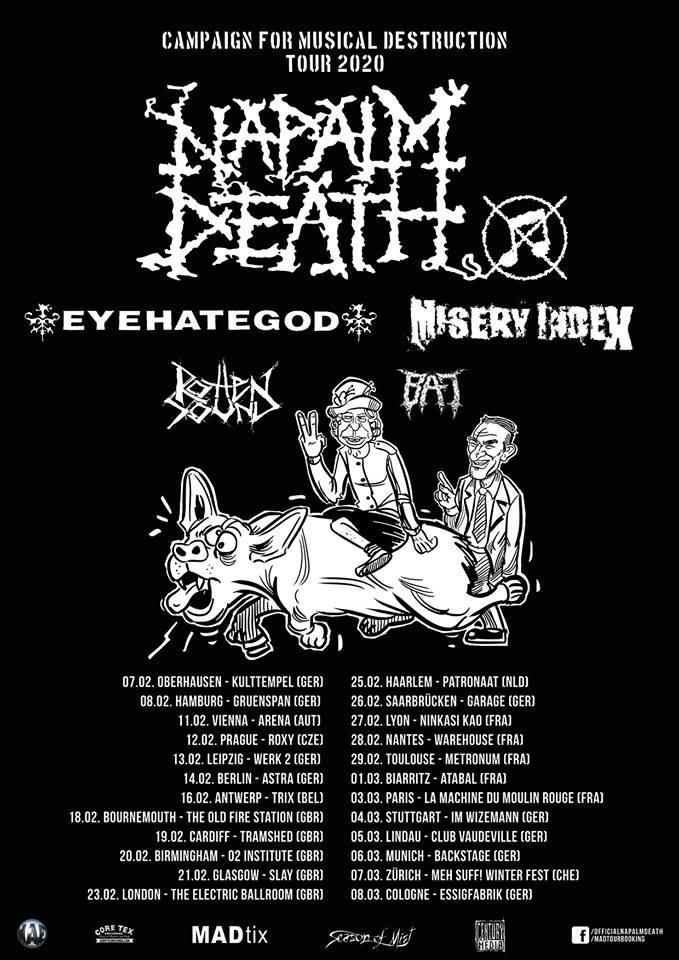 Napalm Death - Campaign For Musical Destruction Tour 2020