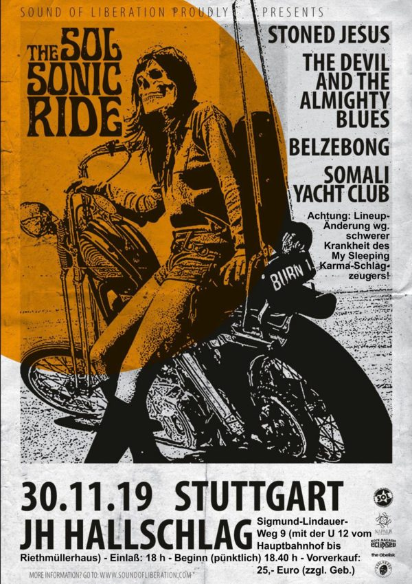 Sol Sonic Ride Tourplakat mit Stoned Jesus, the Devil And The Almighty Blues, Belzebong & Somali Yacht Club
