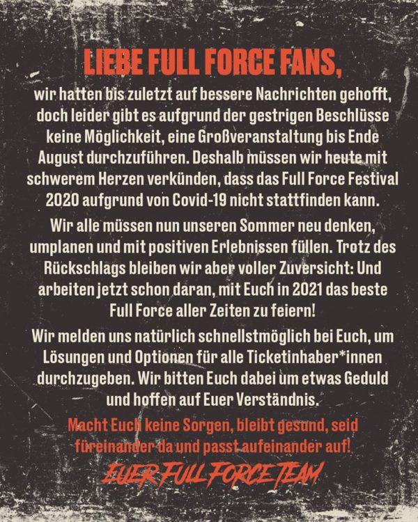Full Force 2020 Absage wegen Covid-19