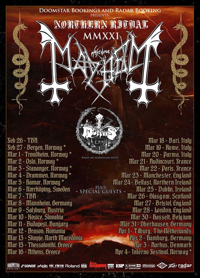 Mayhem NORTHERN RITUAL MMXXI Tourplakat