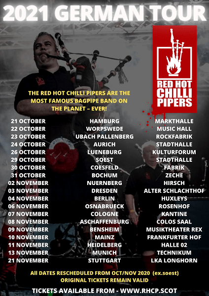 Red Hot Chilli Pipers German Tour 2021 Tourplakat