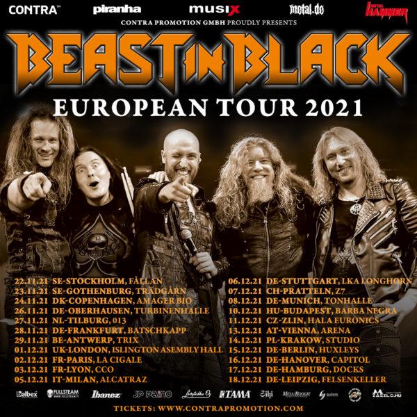 Beast In Black Europa Tourplakat 2021