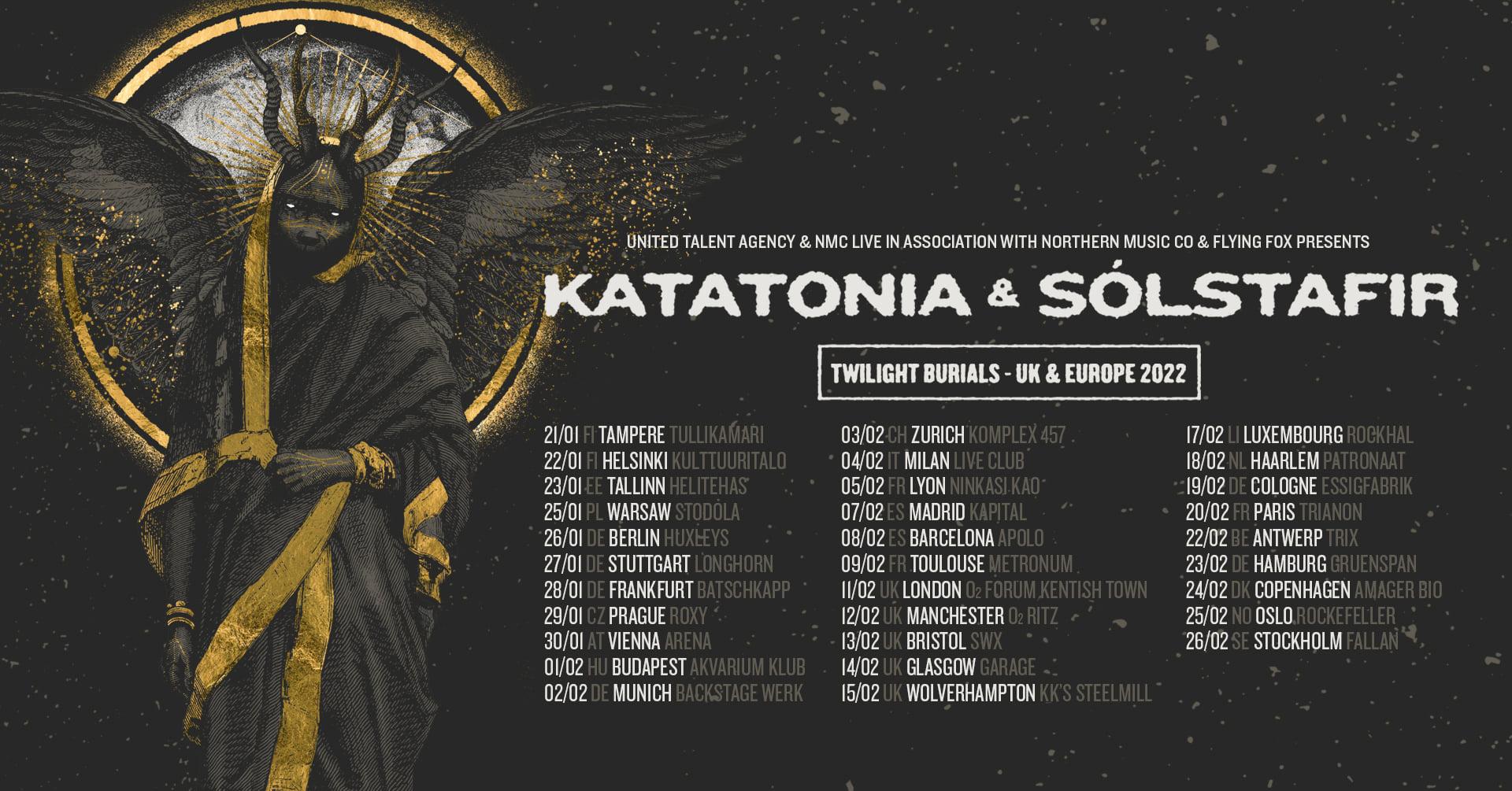 Katatonia & Solstafir Tour 2022 Flyer