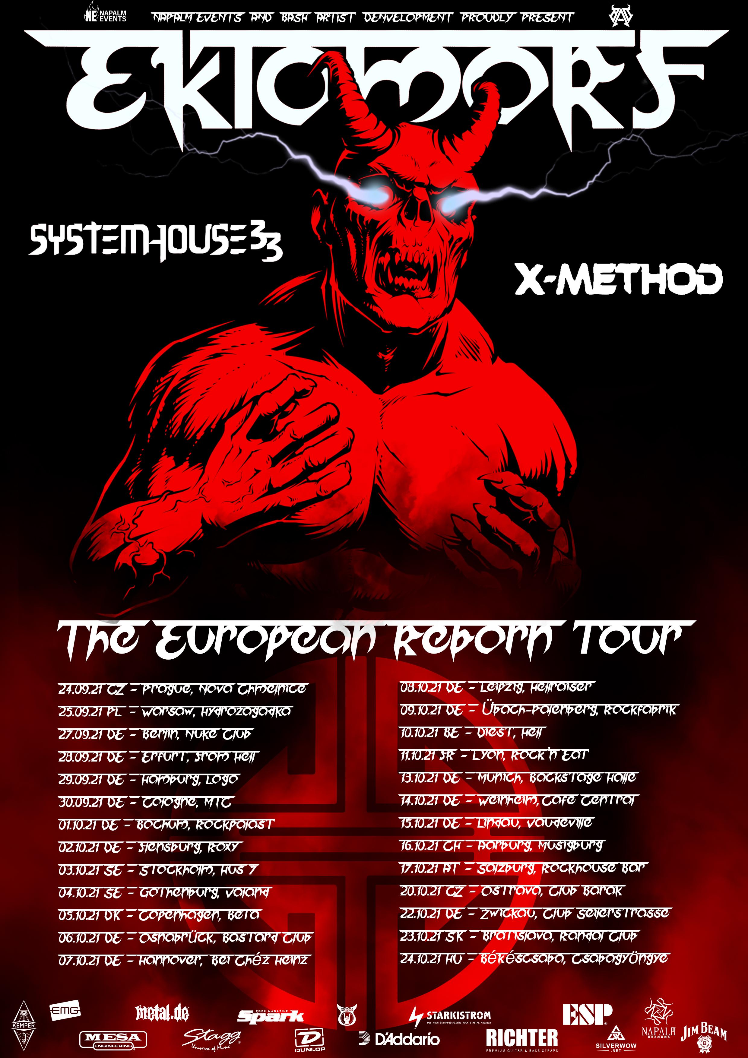 Ektomorf European Reborn Tour 2021 Flyer