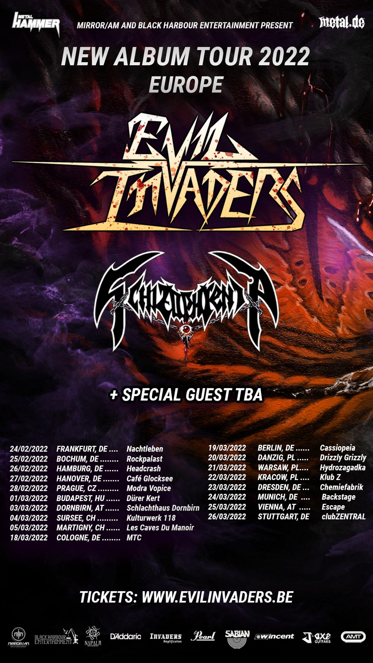 Evil Invaders New Album Tour 2022