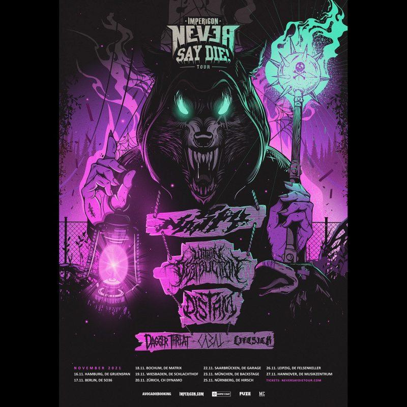 "Tourplakat der Impericon ""Never Say Die!""-Tour 2021"